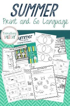 No prep summer language worksheets for speech therapy! They are also great for homework or visuals!