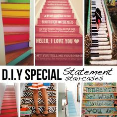 DIY Creative Staircase Designs To Match Your Personality.I have stairs.and I will paint them. Piano Stairs, Stairs Painted Like Piano, Staircase Design, Staircase Ideas, Textiles, Home Decor Items, Stairways, Fun Crafts, Diy Projects