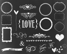 24 Chalkboard Frames Chalkboard Labels for invitations, tags, scrapbooking chalk  labels chalk clipart digital scrapbooking