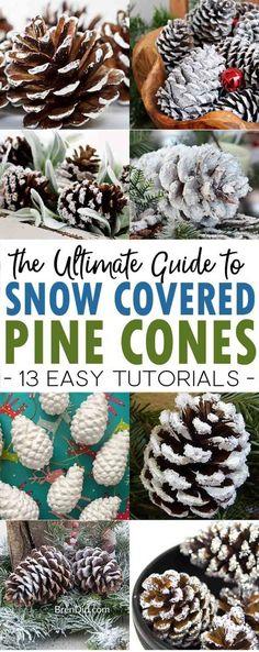 How to Make Snow Covered Pine Cones: The Ultimate Guide | 5 wasy to make snow covered pine cones | snowy pinecones | frosted pine cones #pineconecrafts  #christmascrafts via @brendidblog