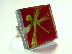 Fused glass ring  Dragonfly adjustable ring  Red & by BGLASSbcn