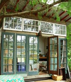 another view of a garden shed made of recycled materials by Jeff Shelton, Santa Barbara, CA