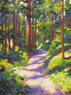 Morning On The Trail 3 Painting by Mary McInnis - Morning On The Trail 3 Fine Art Prints and Posters for Sale Pastel Landscape, Abstract Landscape, Landscape Paintings, Abstract Art, Landscape Edging, Paintings Of Nature, Paintings Of Trees, Landscape Curbing, Sunset Landscape