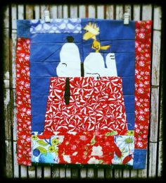 Snoopy & Woodstock #snoopy #woodstock #masterpiece #quilt #paperpiecing #patchwork #tweloquilting Snoopy And Woodstock, Quilts, Blanket, Blogging, Scrappy Quilts, Quilt Sets, Blankets, Log Cabin Quilts, Cover