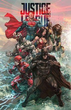 DCEU Justice League by Bryan Valenza - Costura Tutorial and Ideas Arte Dc Comics, Dc Comics Art, Heros Comics, Dc Comics Characters, Dc Heroes, Comic Movies, Comic Books Art, Comic Art, Illustration Batman