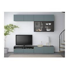 BESTÅ Kombinacja na TV/szklane drzwi - 240x40x230 cm - prowadnica, samodomykająca się - IKEA
