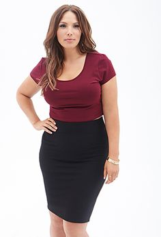 Matelassé Pencil Skirt | FOREVER21 PLUS - 2000067350