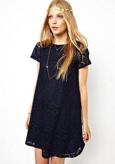 Navy Blue Plain Embroidery Short Sleeve Lace Dress