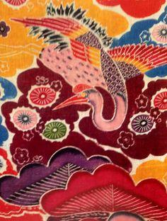 vintage kimono Japanese fabric 1963