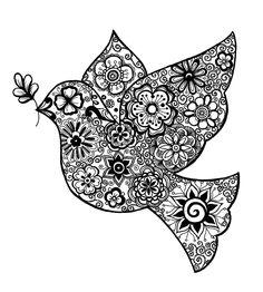 """""""Paloma de la Paz""""© Carolina Urioste, 2014 Colouring Pics, Coloring Books, Coloring Pages, Mandala Art, Zen Doodle, Doodle Art, Paz Hippie, Peace Crafts, Nursing Home Activities"""