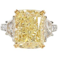 10.17 Fancy Yellow GIA Diamond Ring | From a unique collection of vintage Engagement Rings at https://www.1stdibs.com/jewelry/rings/engagement-rings/.