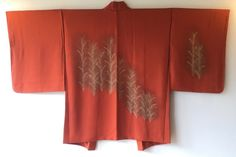 Vintage Japanese Kimono Haori Jacket Silk orange grass