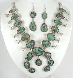 Authentic Vintage Navajo sterling silver Royston Turquoise Squash Blossom Necklace