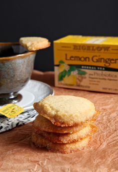 Biscuits and tea never looked so good! Bursting with lemon flavor, Lemon Honey Shortbread is the perfect accompaniment to a mug of @Bigelowtea. #ad #MeAndMyTea #CollectiveBias: