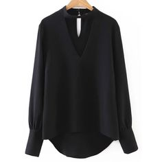 Black Choker V Neck Dip Hem Blouse ($18) ❤ liked on Polyvore featuring tops, blouses, v-neck tops and v neck blouse