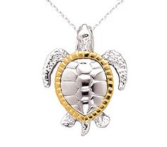 Beautiful Sterling Silver & 14k Gold Sea Turtle Necklace made in the U.S.A. with Free Shipping Everyday! Part of our Sea Turtle Jewelry Collection at www.ArtistGifts.com