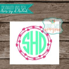 Personalized vinyl decal  car decal  by StickySweetMonogram