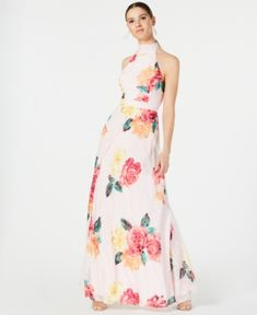 Laundry by Shelli Segal Printed Tie-Back Gown - Pink 0 Red Midi Dress, Pink Dress, Gowns Online, Laundry By Shelli Segal, Print Chiffon, Review Dresses, Baby Clothes Shops, Dress Outfits, Dresses With Sleeves