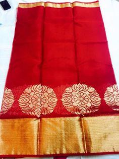 Red pure zari kota with big kaddi border Katan Saree, Ethnic Sarees, Soft Silk Sarees, Indian Textiles, Elegant Saree, Pink Saree, Designer Wear, Designer Sarees, Saree Collection
