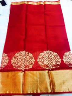 Red pure zari kota with big kaddi border