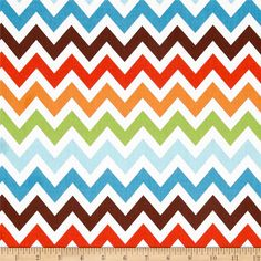Remix Chevron Chocolate from @fabricdotcom  Designed by Ann Kelle for Robert Kaufman, this cotton print is perfect for quilting, apparel and home décor accents. The chevron stripe is horizontal selvedge to selvedge as pictured. Colors include white, lime, turquoise, aqua, orange and brown.