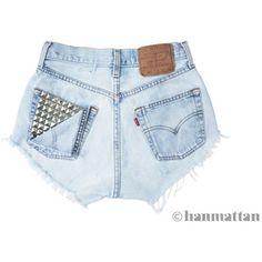 "ALL SIZES ""PEEK"" Vintage Levi high-waisted denim shorts light blue studded pocket distressed frayed jeans"
