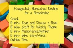 Preschool Homeschooling Routine - ideas, explanations, and thoughts on making the most of the time with your child