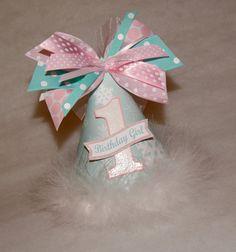 Aqua and Pink Winter Onederland Birthday Party Hat - Winter Wonderland, Snowflake on Etsy, $13.50