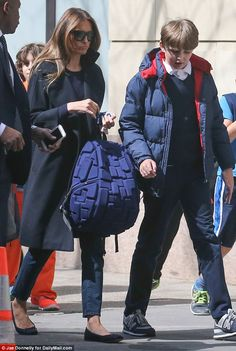 The 45-year-old former model was spotted going to pick up son Barron, nine, her only child...