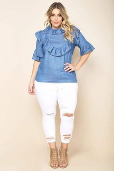 Looking for Plus Size Fashion & You're on a Budget? Bookmark these Places! http://thecurvyfashionista.com/2017/02/plus-size-fashion-budget/  This plus size chambray top is fun!  Looking to get more fashion for your money when you shop?  There are several retailers who offer great plus size fashion for under $50.  And today we share with you 10 places to shop when you are on a budget and to bookmark!