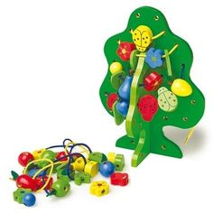 Wooden Threading Tree with Beads