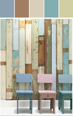 No. 3 Scrapwood Wallpaper Design by Piet Hein Eek Designed By Burke Decor via Stylyze #colourpalettesilove