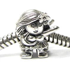 Queenberry Sterling Hula Dancer European Bead Charm