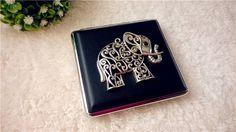 Free Shipping~Vintage Silver Elephant Leather Cigarette Case,Art Deco Cigarette Case,Slim Wallet,Condom Storage Case,Wallet Card Case
