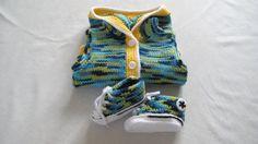 Blue/Green MixColoured Crochet Converse Baby by BabyJaneKnits, £20.00