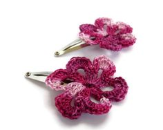 Crochet Flower Hairclips Pink Flower Nature Accessories by imynda, £5.00
