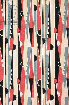 Geometric Art Deco textile design, France, 1933 (paper impression)