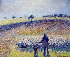 Shepherd and Sheep. (1888). Камиль Писсарро