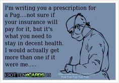 Rottenecards - I'm writing you a prescription for a Pug.not sure if your insurance will pay for it, but it's what you need to stay in decent health. Pug Love, I Love Dogs, Fu Dog, Pug Pictures, Pug Pics, Pugs And Kisses, Black Pug, Cute Pugs, Airedale Terrier