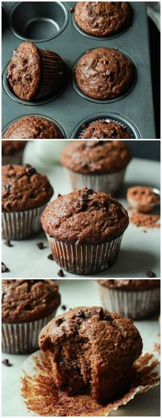 Skinny Double Chocolate Banana Muffins #healthy #chocolate #muffins
