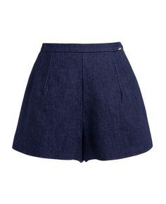 Elastic Wide-legs Denim Shorts