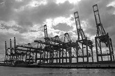 Elbe Foto vom Hamburger Hafen in schwarz weiß