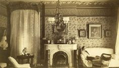 Parlor in the W. Pettus Residence at 2825 Locust Street. Aunt Euphrasie Mackay on couch. Historical Images, Historical Society, Aunt, St Louis, Missouri, Couch, History, Street, Historia