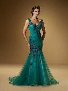 Verde Trompeta/Sirena Straps Lace Applique Sin Mangas Tulle Dress por €442,73