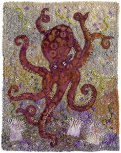Octopus and Anemones Felt Embroidery, Embroidery Stitches, Machine Embroidery, Embroidery Patterns, Cotton Quilting Fabric, Fabric Art, A Level Textiles, Ocean Crafts, Landscape Quilts