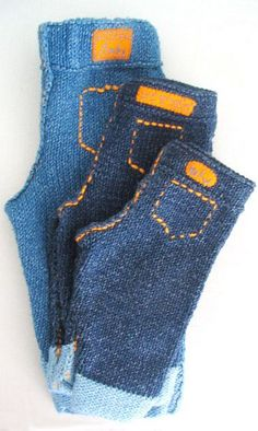 Free knitting pattern for Blue baby jeans