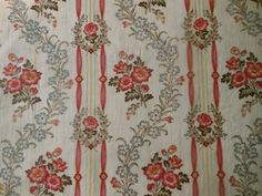 Antique French Floral Ribbon Garland Cotton Fabric ~ Raspberry Pink Red Yellow