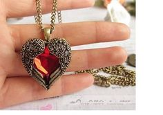 Check out Love Vintage, Angel Wings, Red Hearts Design, Long Necklace, Angel Wings, Pendant Necklaces, For Women, gift for her on melindajewelrystore