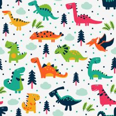 Cute vector seamless pattern with funny dinosaurs, clouds and trees vector art illustration