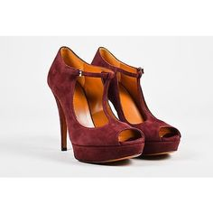 Pre-Owned Gucci Maroon Nib Suede Leather Peep Toe Platform T Strap... ($320) ❤ liked on Polyvore featuring shoes, pumps, multi, t-strap peep-toe pumps, peep-toe pumps, platform shoes, low heel pumps and low heel peep toe pumps